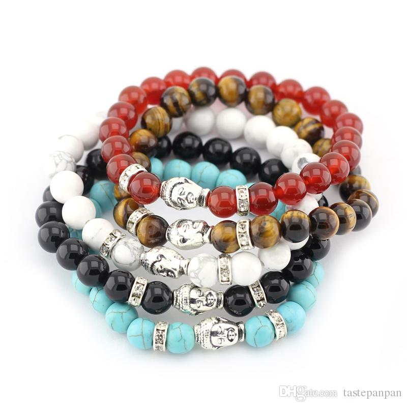 New Fashion Natural 8mm Stone Beads Antique Silver Plated Buddha Charms Bracelets For Women and Men Bracelet