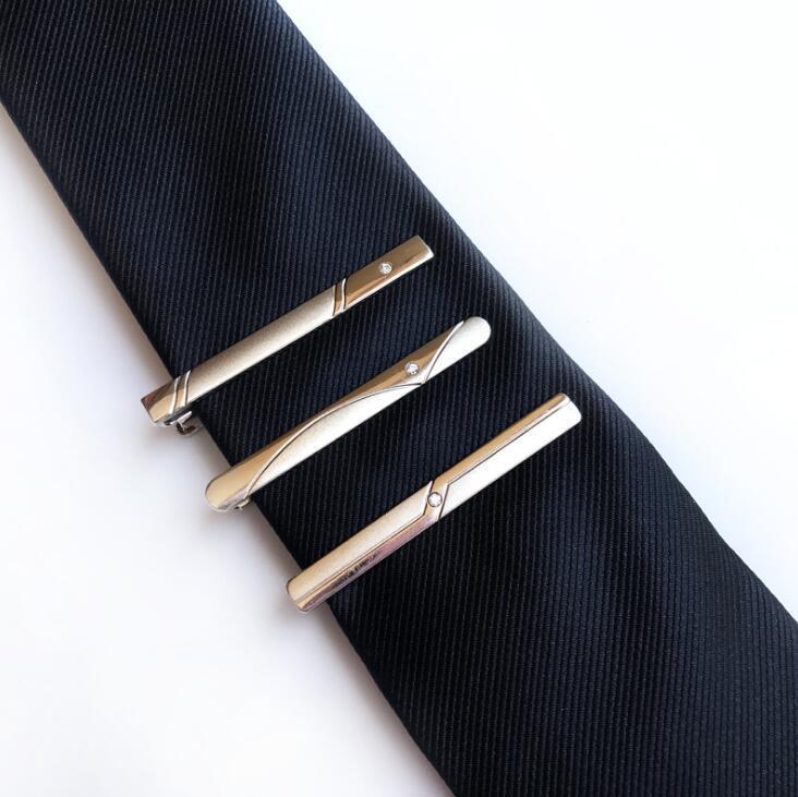 2017 New Tie Clips Hommes Cravate En Métal Bar Cristal Formelle Robe Chemise De Mariage Cérémonie Argent Cravate Hommes Bijoux
