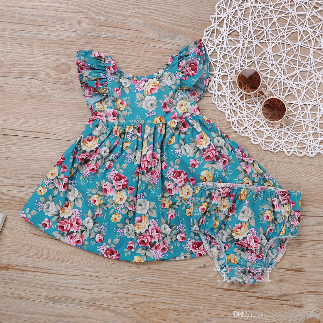 Retail Baby Meisjes Floral Jurken Twee Stukken Set Katoenen Jurk + Ondergoed Meisjes Beach Jurk Kinderkleding Kinderkleding