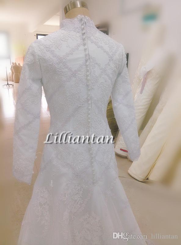 빈티지 겸손 레이스 웨딩 드레스 긴 소매 Tradional 카톨릭 기독교 웨딩 드레스 이슬람 두바이 아랍어 신부 Appliques 진짜 이미지