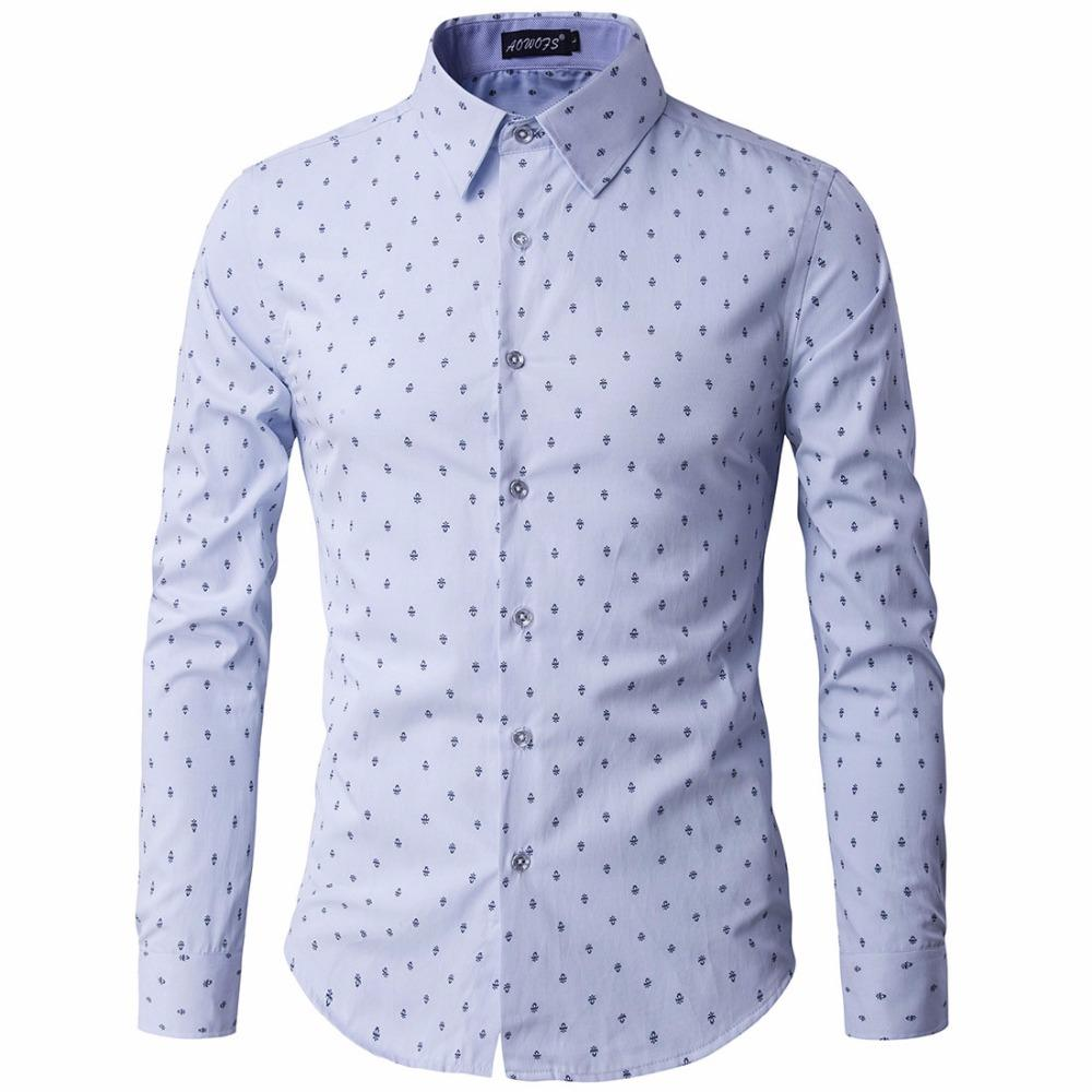 2019 Wholesale Autumn New Mens Printed Casual Shirts Fashion Men