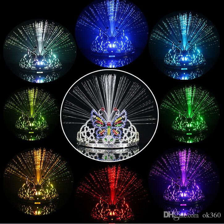New Colorful Flash Flash i Cambiare Dancing Party Copricapo Farfalla Corona Fibra ottica Fascia Luce notturna Holiday Grow toy