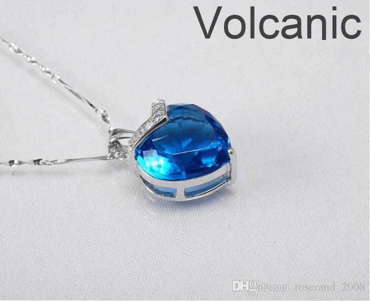 Marka Yeni Kalp Mavi Topaz Kolye ile 925 Ayar Gümüş Zincir Moda Kadınlar Için Mavi Kristal Kolye Takı Düğün Hediye