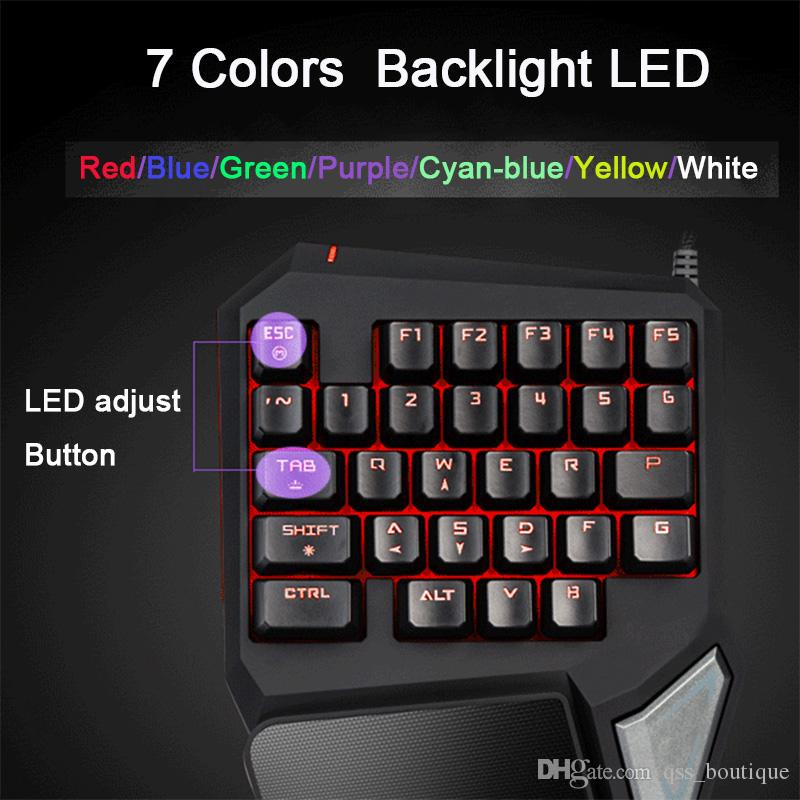 Aulid Delux T9 Pro Игровая клавиатура Одноручная клавиатура USB Проводная игровая клавиатура со светодиодной подсветкой