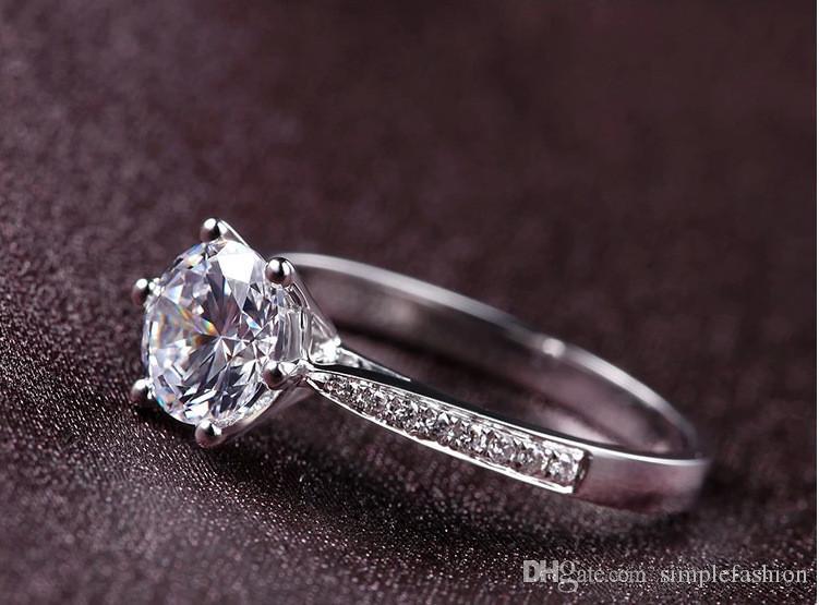 Vecalon fashion Jewelry wedding Band ring le donne 1ct diamante simulato Cz 925 Sterling Silver femminile anello di fidanzamento