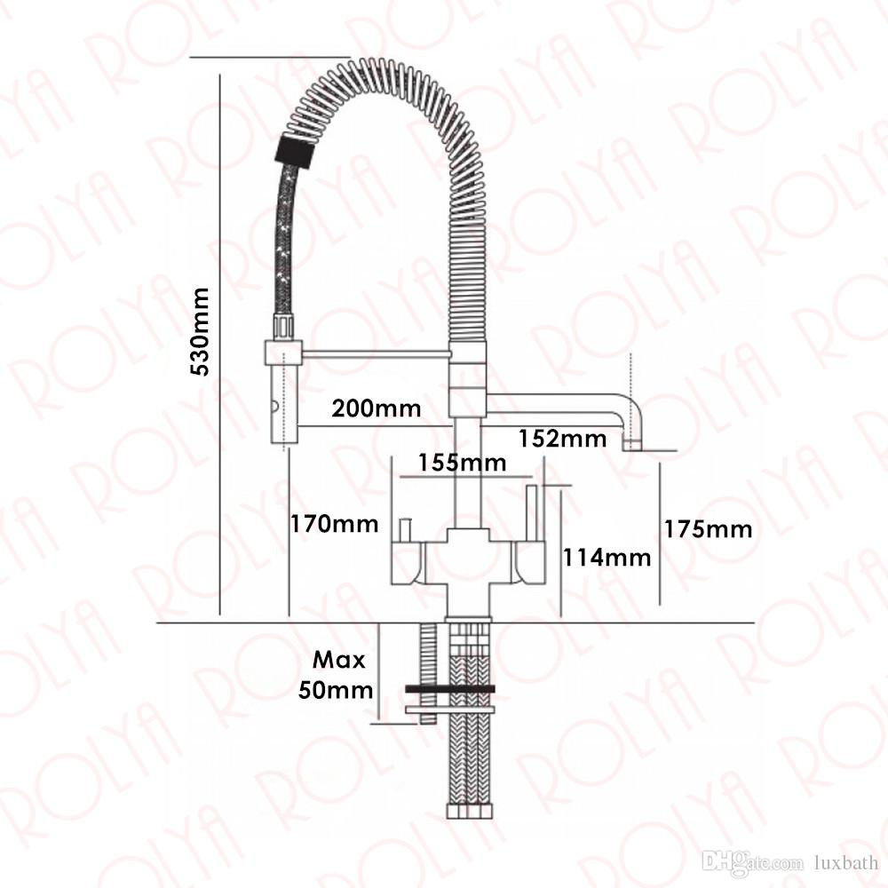 Rolya New Commercial Tri Flow Kitchen Faucet with Spring Hose Sink Mixer Professional 3 Way Water Filter Tap