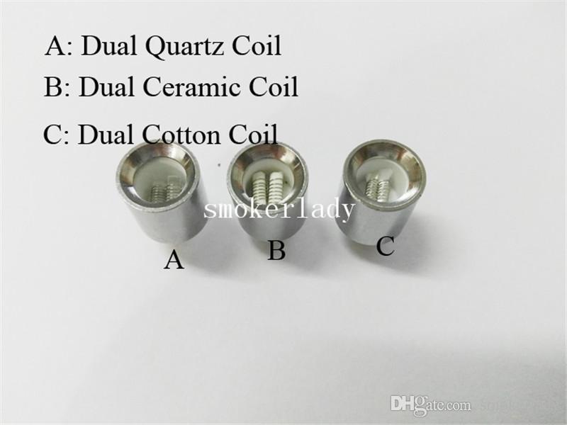 2016 новый двойной воск катушки для пушки испаритель атомайзер vape двойной катушки двойной катушки Керамический кварцевый стержень воск стеклянный шар металлическая ваза картомайзер