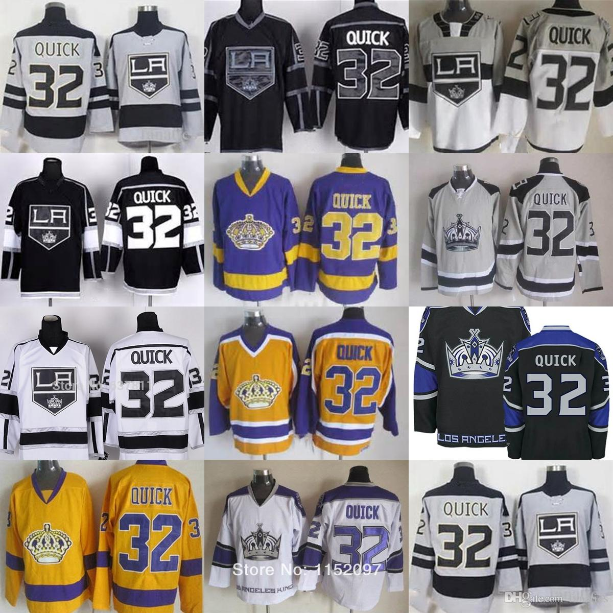 a11a52c57 2019 New Mens Los Angeles Kings  32 Jonathan Quick Black White Grey Yellow Ice  Hockey Jerseys Top Quality Drop Shipping Accept From Fanatics