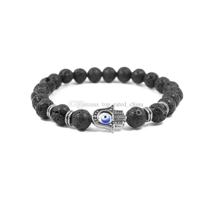 Nature Black Lava Energy Stone Beads Bracelet Gold Hamsa Hand Charm Bracelet Yoga Mala Bracelets
