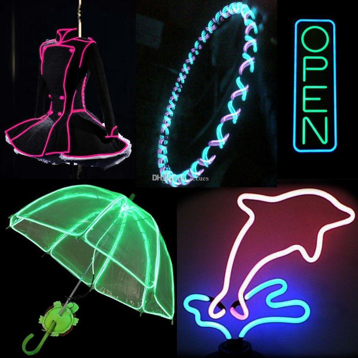 3M Flexible Neon Light Glow EL Wire Rope Tube Flexible Neon Light