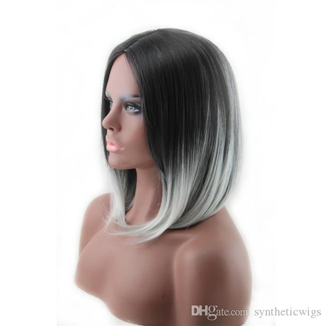 Woodfestival curto peruca reta preta cinza Ombre esculpido perucas de cabelo para mulheres resistentes a calor fibra cosplay 35cm