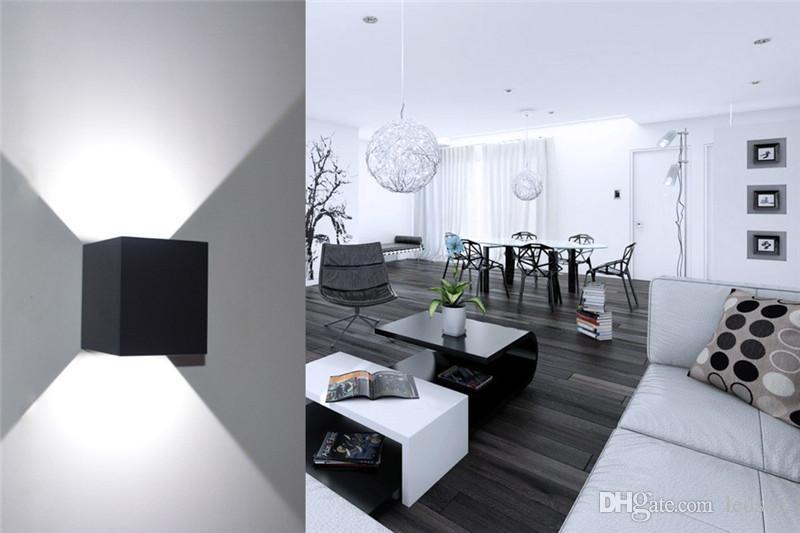 Neue COB 7 Watt 12 Watt LED Aluminium Wandleuchten Einstellbarer Winkel Aufputz Outdoor Cube Lampe Led Innenwandleuchte Up Down Wandleuchten