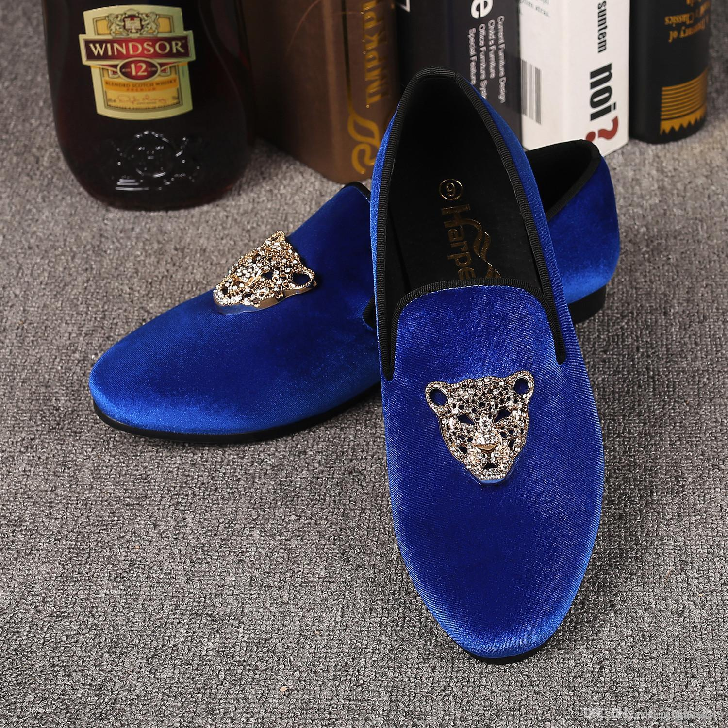 15cfa5b4f Harpelunde Animal Rhinestone Buckle Dress Shoes For Men Evening Blue Velvet  Slipper Shoes Free Drop Shipping Size 7 14 Birkenstock Shoes Brown Dress  Shoes ...