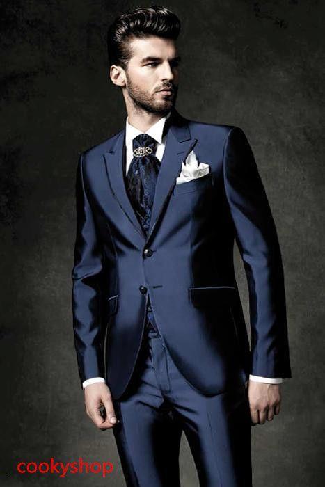 vendita calda Shiny Blu Navy Smoking Smoking Risvolto degli uomini Suit Groomsman / Best Man Wedding / Prom Abiti matrimonio Jacket + Pants + Vest