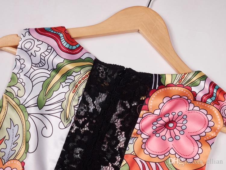 Vintage Print Femmes A-Line Dress Sans manches Robes Décontractées 040420