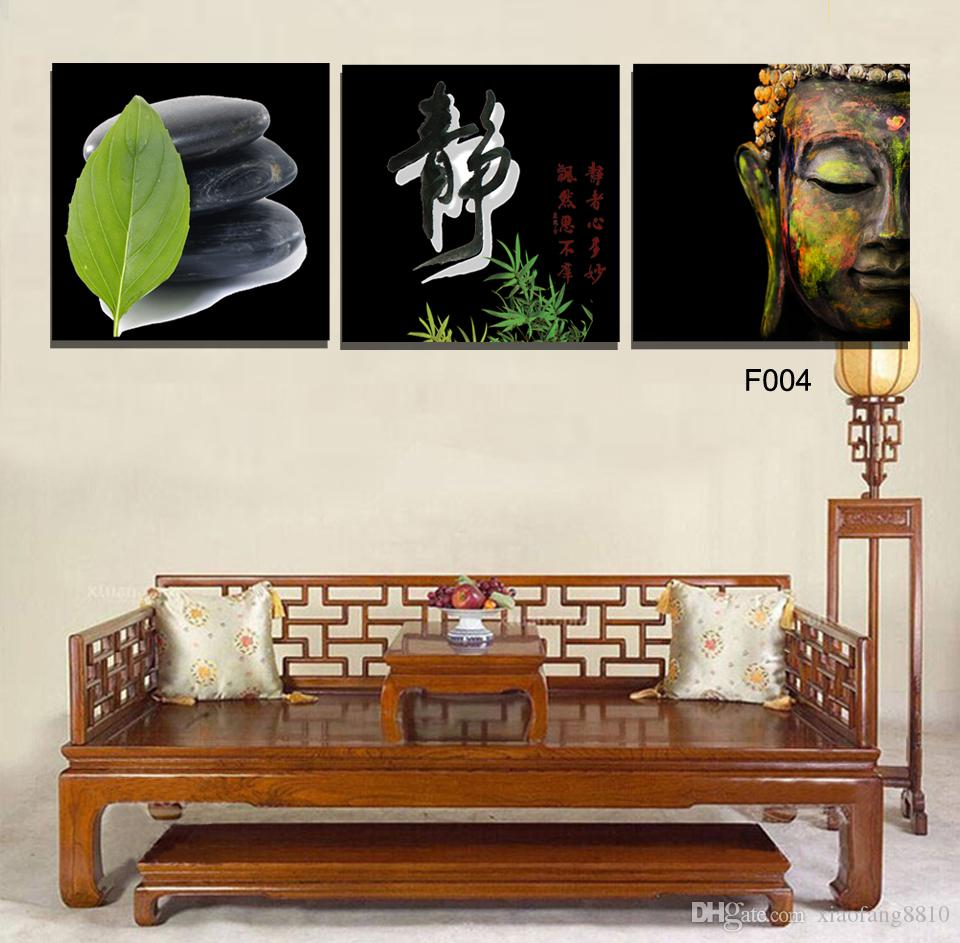 High Quality Hand-painted Group Oil picture print on canvas 3 Panel Wall Buddha PaintingNo Frame