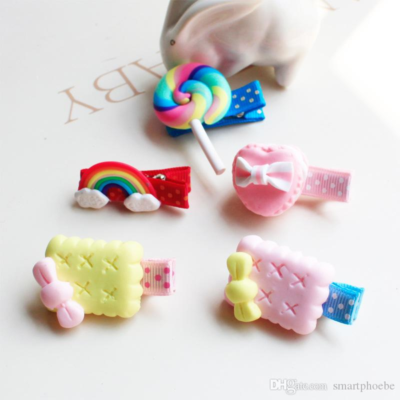 Wholesale Fashion Cute Cartoon Baby Girsl Hairpins Solid Polymer Clay Rainbow Cookies Lollipop Baby Girls Hair Accessories