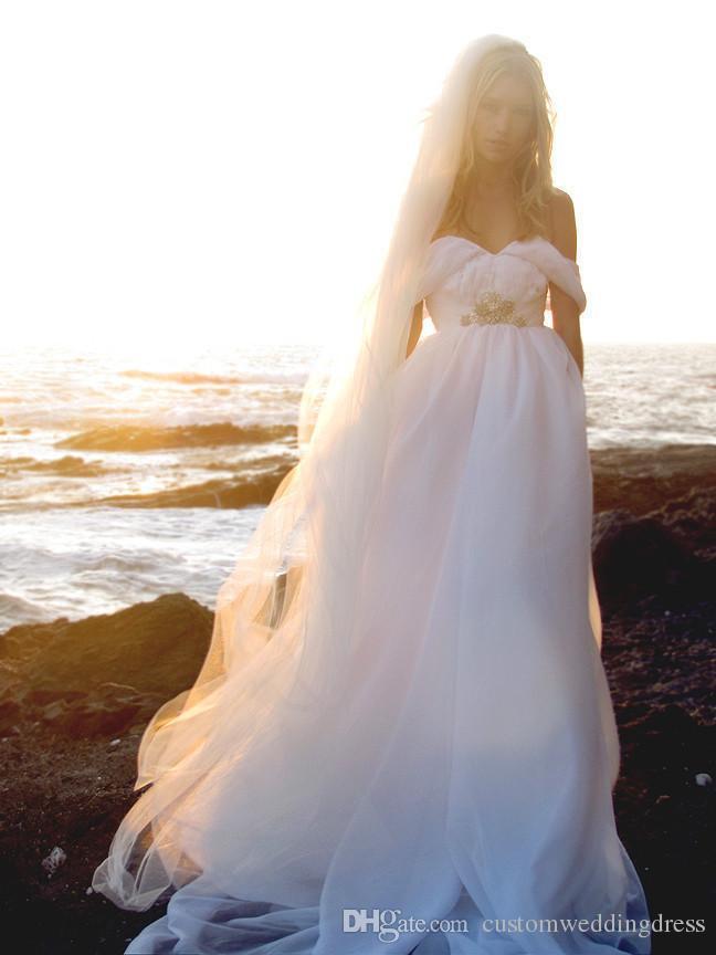 Vestidos de boda sin respaldo de la playa del estilo del verano que fluyen Vestidos de Boho elegantes de la bohemia Una línea Vestido de boda griego de la diosa de la vendimia