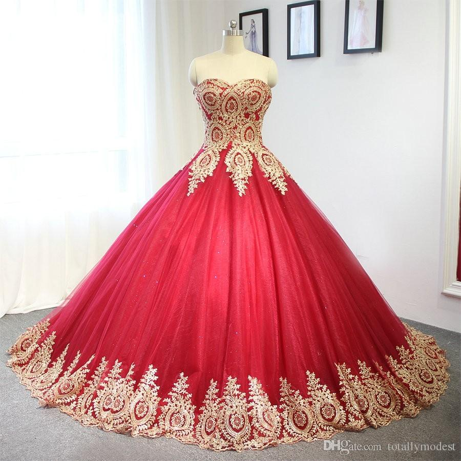 Discount 2017 New Red And Gold Ball Gown Wedding Dresses Sweetheart
