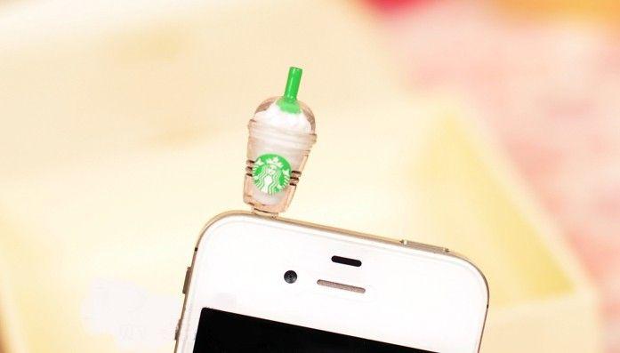 2016 Vendita all'ingrosso - Starbucks Coffee Cup Tappo antirumore Tappo auricolare Jack Spina antipolvere iphone 4 / 4S 5G