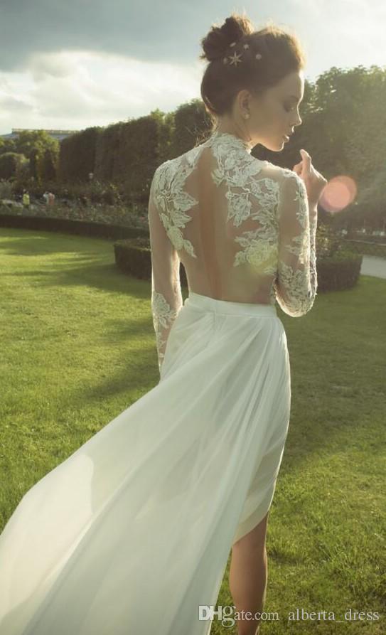 Bohemia Lace Ester 2019 Arabisch Strand Brautkleider High Neck Lange Ärmel Backless Mantel Brautkleider Chiffon Sexy Brautkleider