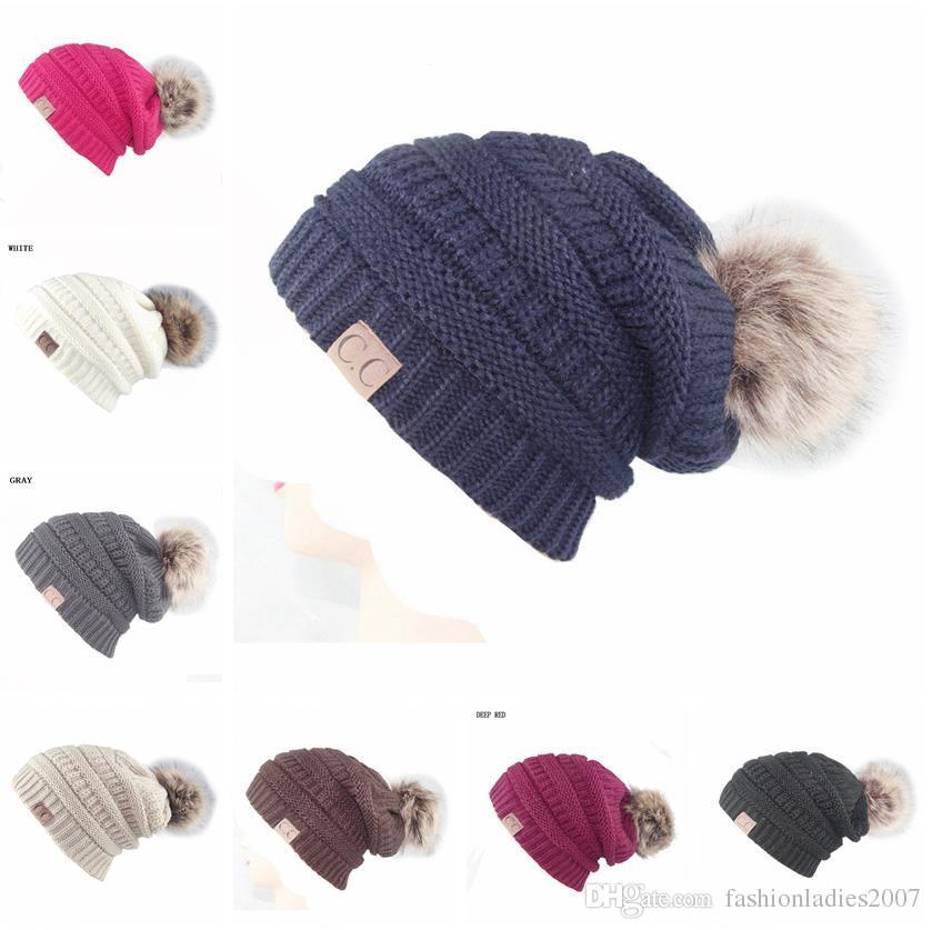2017 Unisex CC Trendy Hats Winter Knitted Fur Poms Beanie Label ... 8c9d77b480c7