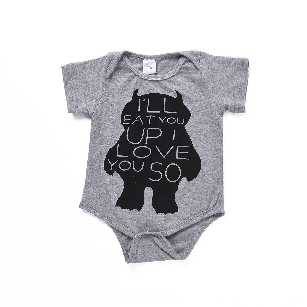 de4dff0ba69 Mikrdoo Hot Baby Boy Girl Rompers Newborn Kids Short Sleeve Grey ...