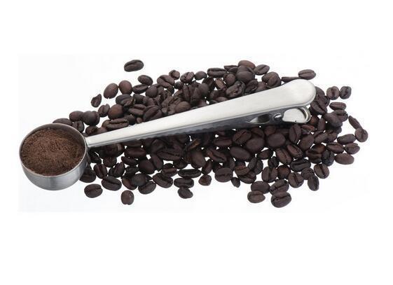 Chegam novas Aço Inoxidável Café Moído Colher Colher De Medição Com Saco de Vedação Clipe Prata
