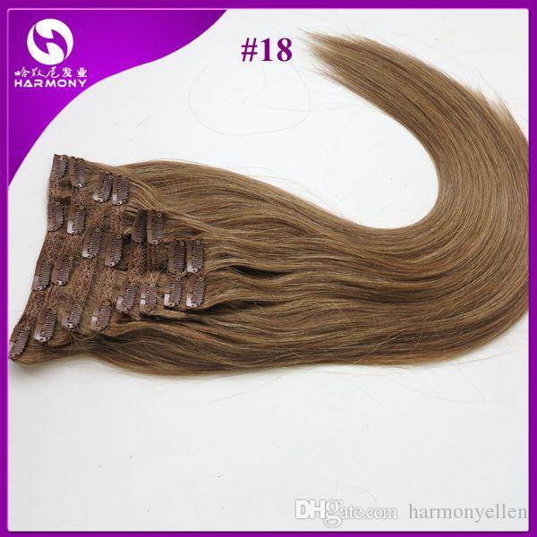 "20''-22"" set Clip-in hair Human Hair Extensions 160G Darkest Brown"