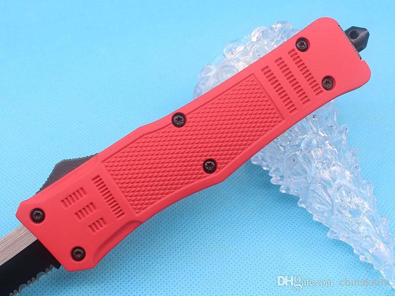 Allvin Manufacture Grande Taille 616 Poignée Rouge Auto Tactial Couteau 440C 58HRC Seul Bord Tanto Moitié De Dentition Lame Tactique