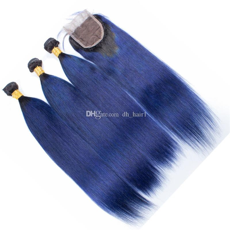 Indian Straight Ombre Hair Bundles with Lace Closure Dark Roots 1B Blue Ombre Straight Human Hair Weaves with Top Closure