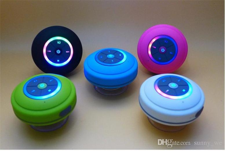 Q9 Sucker Dustproof Bathroom Waterproof Wireless Bluetooth Speaker With LED  Light Car Shower Speaker Handfree Colors Q9