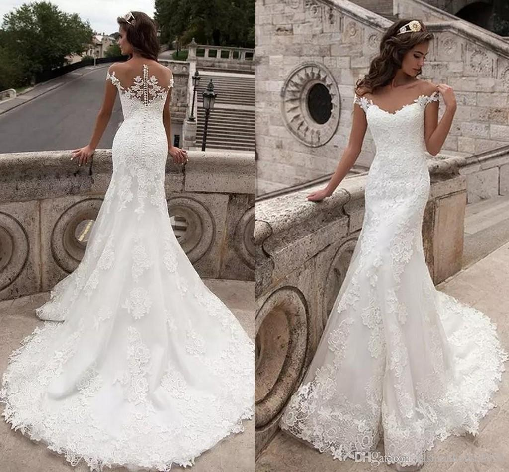 d9a61eba99be Milla Nova Mermaid Wedding Dresses 2017 Cheap Cap Sleeves Sweetheart Full  Lace Appliques Sheer Open Back Plus Size Court Train Bridal Gowns Corset  Wedding ...