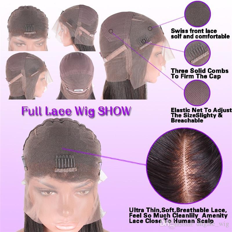 글루리스 glueless 전체 레이스 인간의 머리 가발 아기 머리 150 % 브라질 처녀 머리 느슨한 웨이브 레이스 프런트가 꿀 금발 가발 블랙 여성