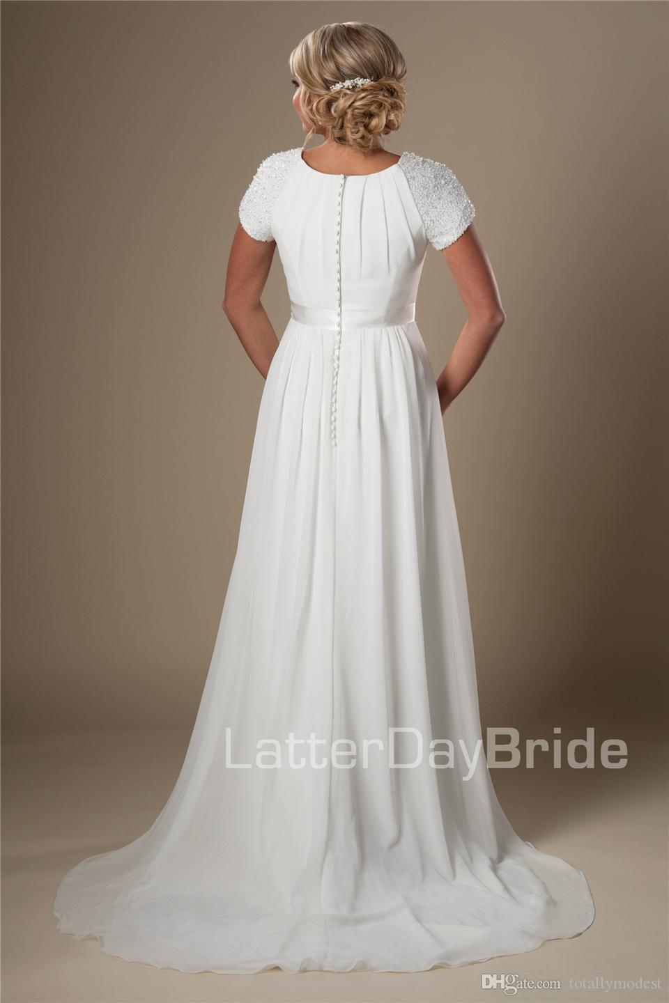 Ivory Beaded Chiffon Beach Modest Wedding Dresses With Cap Sleeves A-line Temple Bridal Gowns Informal Summer Wedding Gowns New Cheap