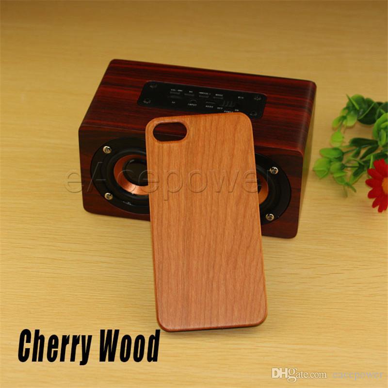 Funda de madera real para iPhone 7 6 6S Plus Funda de madera tallada de madera de bambú + funda de PC para iPhone 5 5S 5SE carcasa del teléfono