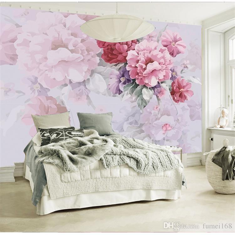 American Village Pastoral Wallpaper Schlafzimmer Wohnzimmer TV Hintergrundbild Handgemalte Warm Floral Large Wall Canvas