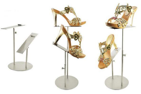 Titular duplo de Metal de aço inoxidável Um boutique sapatos mostrando sandálias de exibição de sapatos de exibição stand sapateira rack de guardião