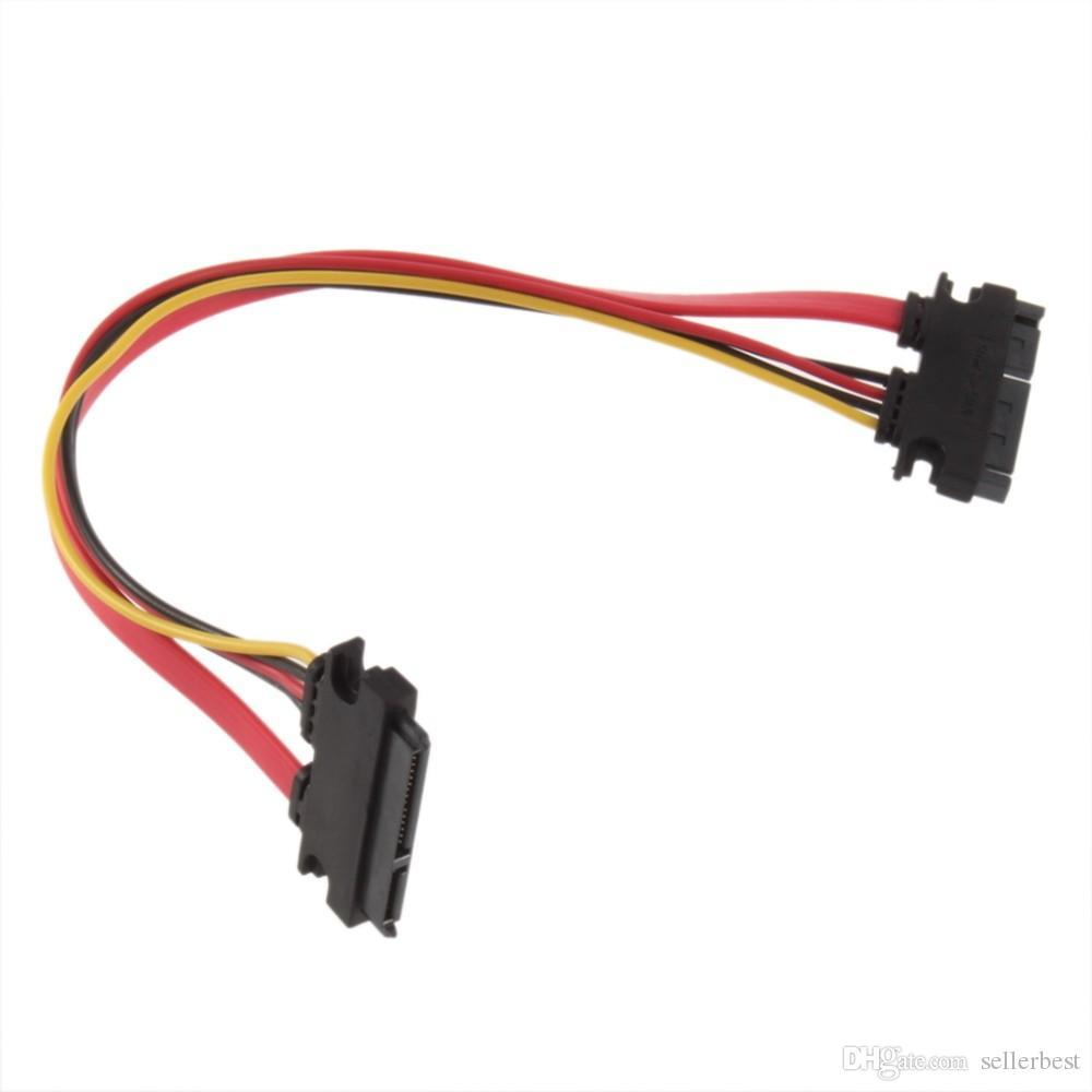Meilleure qualité 7 + 15 broches série SATA données puissance Combo HDD extension câble connecteur mâle à femelle