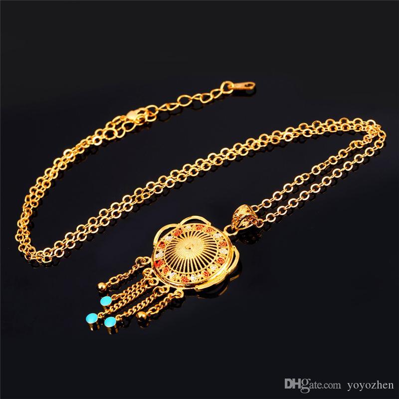 Colgantes de las borlas de moda para las mujeres Colgante de collar hueco de la vendimia del esmalte de alta calidad 18K oro verdadero