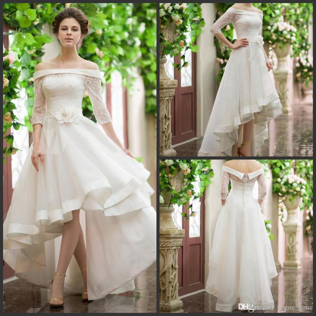 Off Shoulder Country Wedding Dress High Low Lace Half