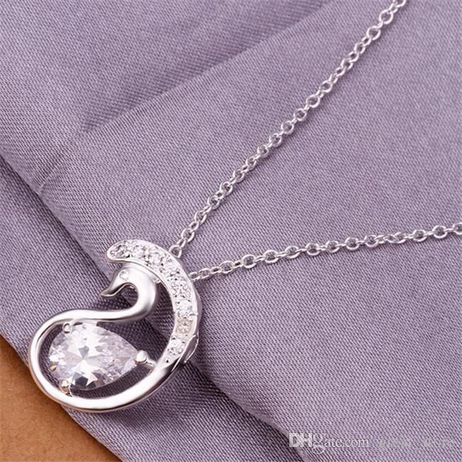 wedding Belt Edge Sword Swan women's sterling silver plate Necklace,fashion 925 silver pendant Necklace with chains GN326