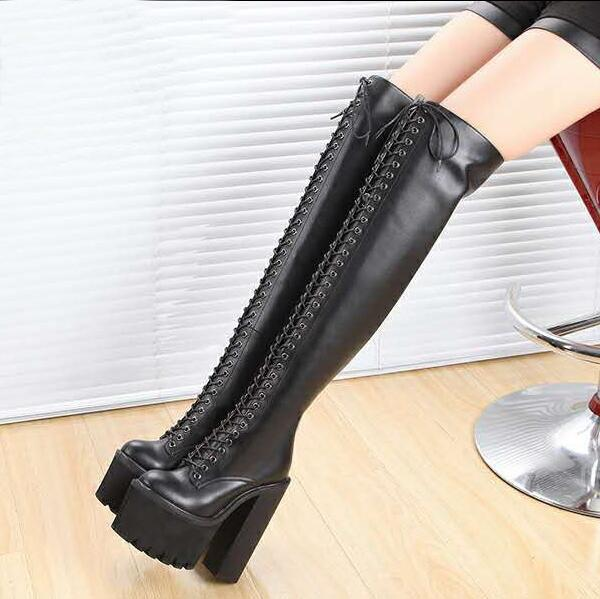 429c577ce07 Fashion Platform Wedge Chunky Heels Thigh High Boots Jeffrey Campbell 15cm High  Heeled Lace Up Women Motorcyle Martin Boots Stage Shoes Motorcycle Boots …