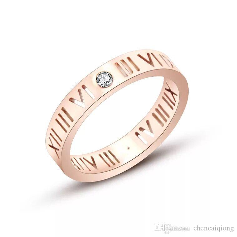 2017 marca de moda cor de rosa de ouro de aço de titânio de cristal oco numerais romanos anel de amor mulheres presente