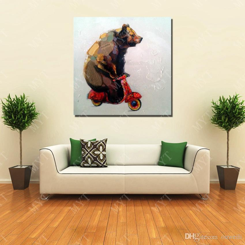 Funny Bear Play Scooter 2016 Newest Design Canvas art oil painting for kids bedroom wall decoration By Hand Painted Oil Painting