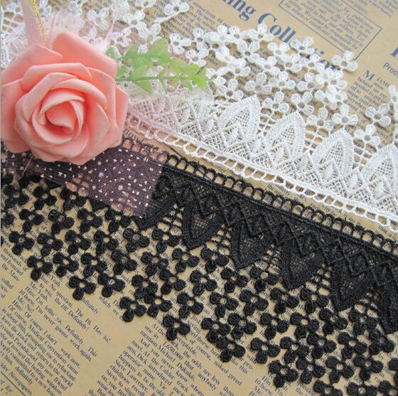 15 Yard White/Black Embroidered Leaf Flower Tassel Cotton Lace Fabric Trim Ribbon For DIY Bridal wedding Doll Cap Hair clip