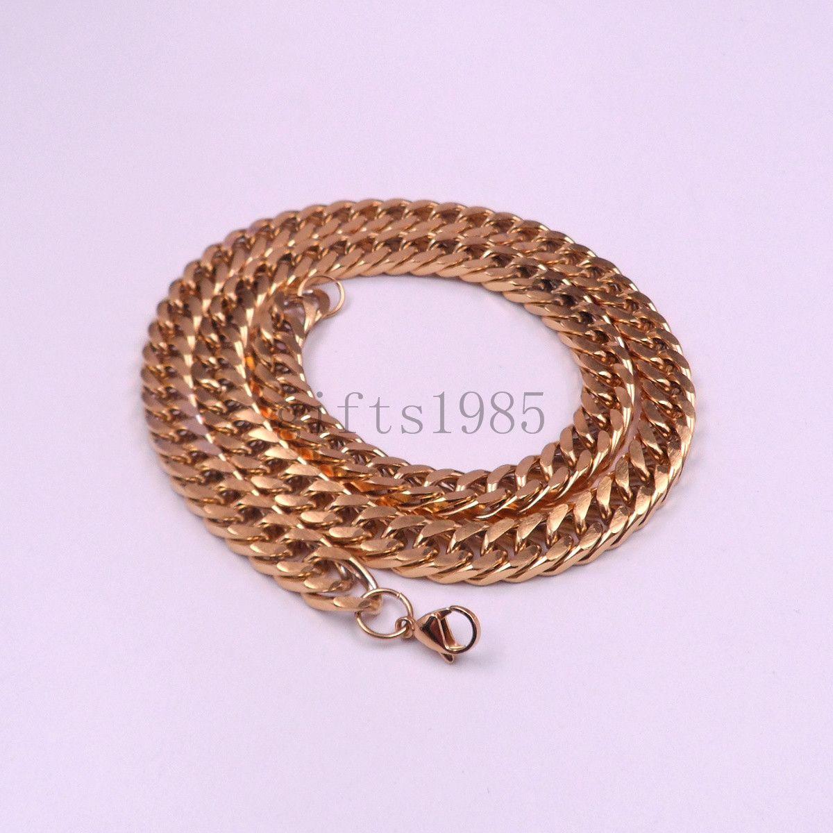 10mm Mens Boys Acier Inoxydable 316L 18K Gold Curb Cuban Chain Necklace 18