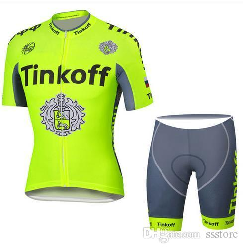 Fluo Yellow Pro Team Cycling Jersey Tinkoff Ropa Ciclismo Bicycle ... 9ee807156
