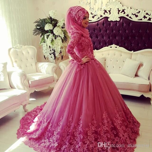 2018 Vestidos de boda musulmanes Mangas largas Cuello alto Apliques de encaje Vestido de boda islámico Barrido de tren Vintage Dubai Vestidos de novia con Hijab