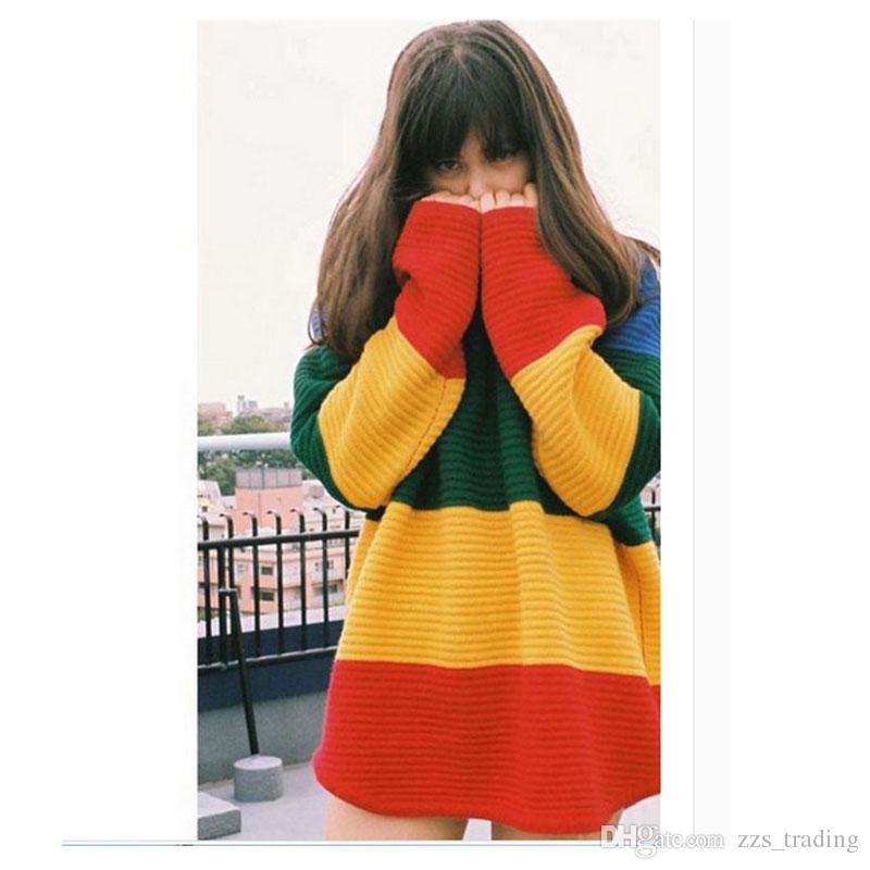 2017 modelos de otoño e invierno de color a rayas suéter de la cabeza de las mujeres suelta de gran tamaño en el vestido de maternidad largo